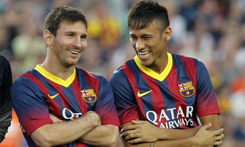Lionel Messi and Neymar laughing