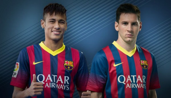 Neymar and Messi wearing the new Barcelona jersey for 2013-2014