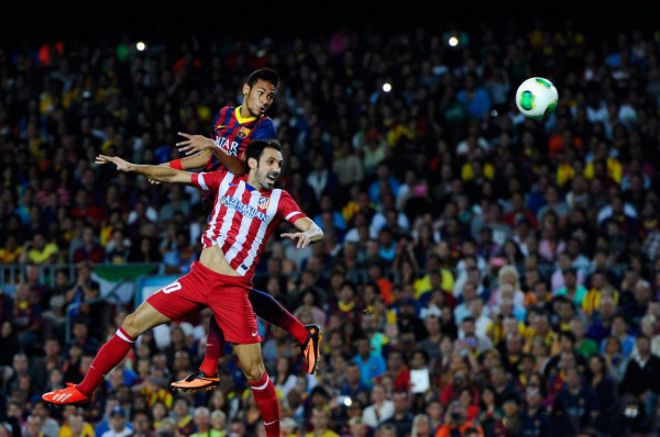 Neymar big jump and header, in Barcelona vs Atletico Madrid
