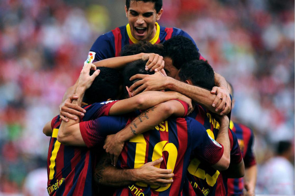 Barcelona players piling up for goal celebrations