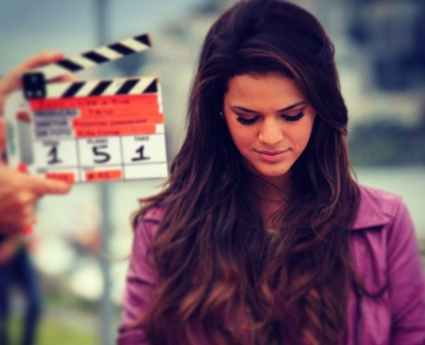 Bruna Marquezine shooting a scene for a Brazilian TV soap opera