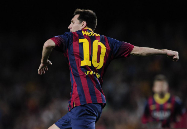 Lionel Messi celebrating his goal and hat-trick against Ajax
