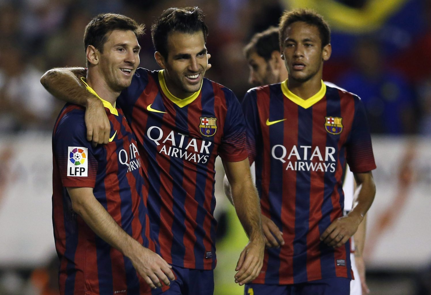 Lionel Messi, Fabregas and Neymar, celebrating Barcelona goal vs Rayo Vallecano