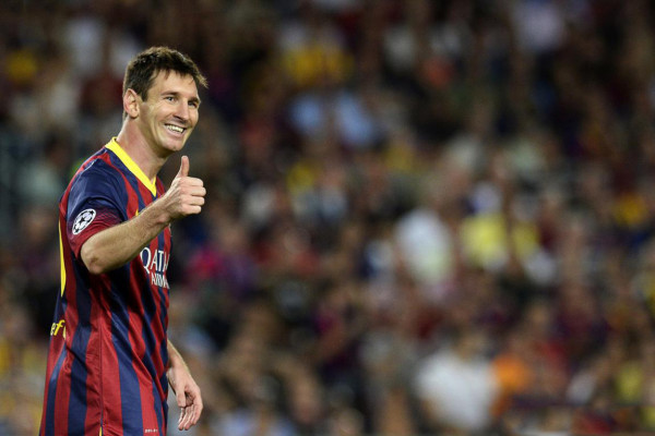 Lionel Messi smile and happiness, after scoring hat-trick for Barcelona in Champions League 2013-2014