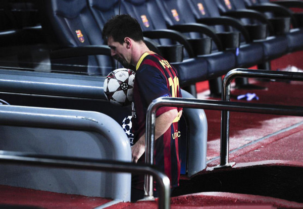 Lionel Messi taking his hat-trick ball game home, after Barcelona 4-0 Ajax