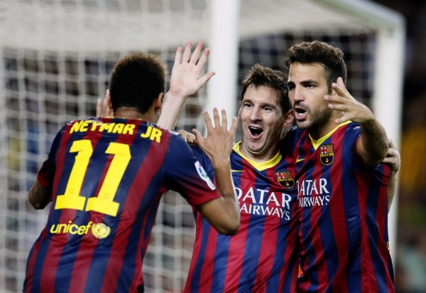 Neymar joining Lionel Messi and Fabregas, in Barcelona goal celebrations