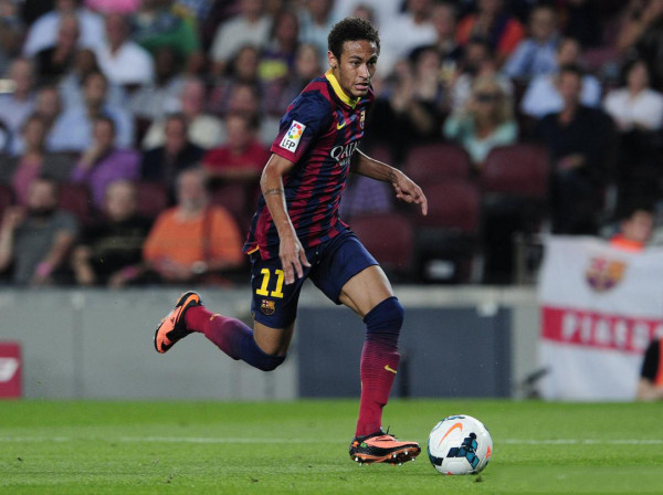 Neymar playing in Barcelona 4-1 Real Sociedad