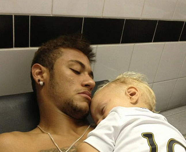 Neymar sleeping next to his child and son