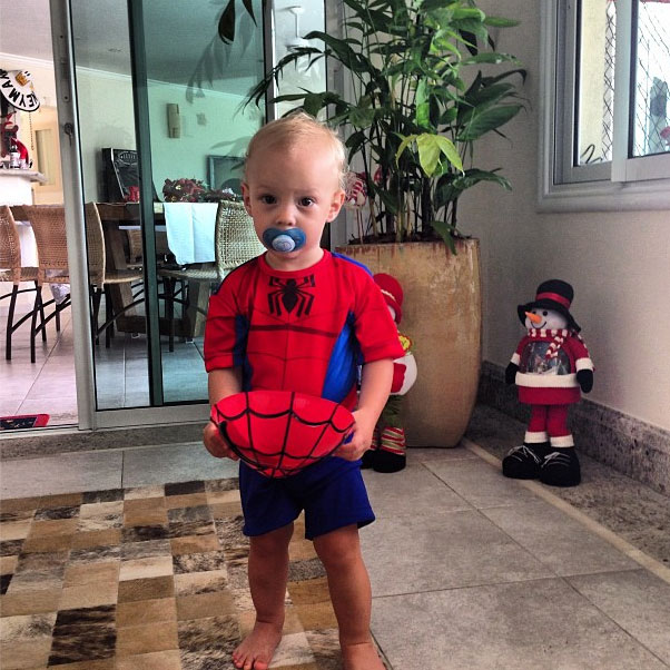 Neymar son David Lucca in a Spiderman costume