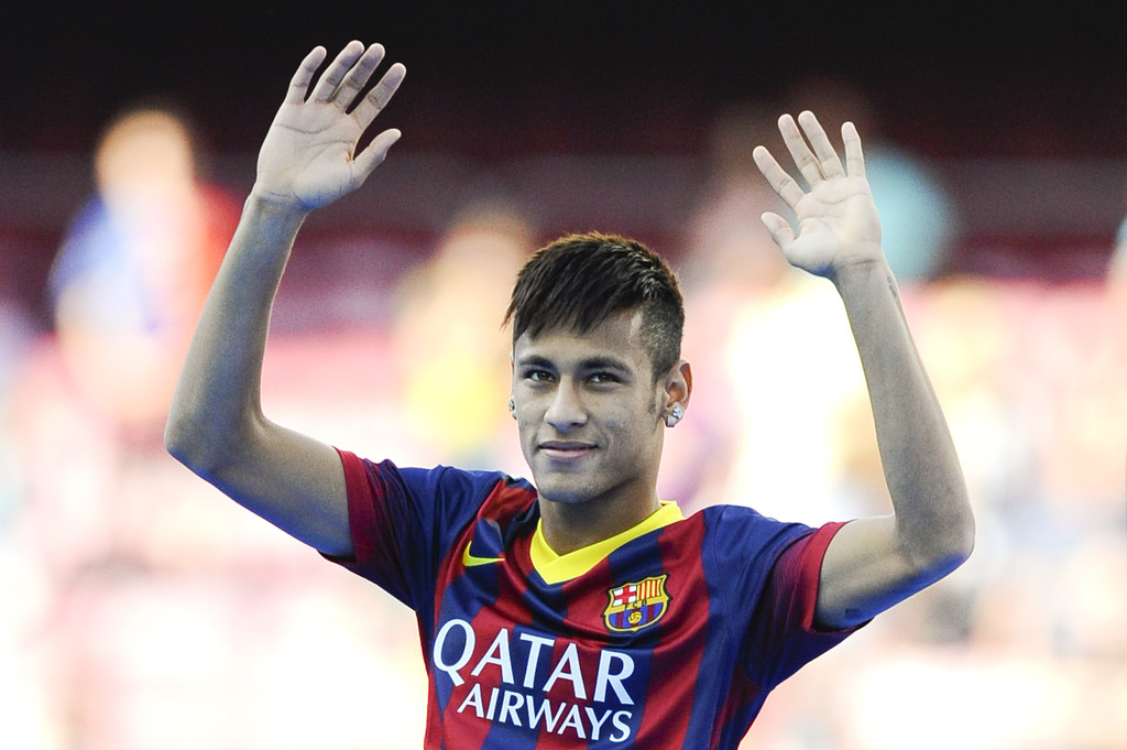 Neymar with hair gel on his Barcelona presentation day