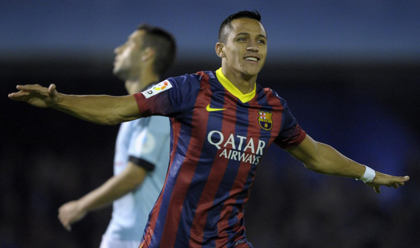 Alexis Sánchez after scoring the opener in Celta 0-3 Barcelona