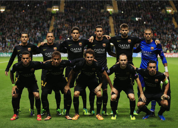 Barcelona line-up in the match agaisnt Celtic Glasgow