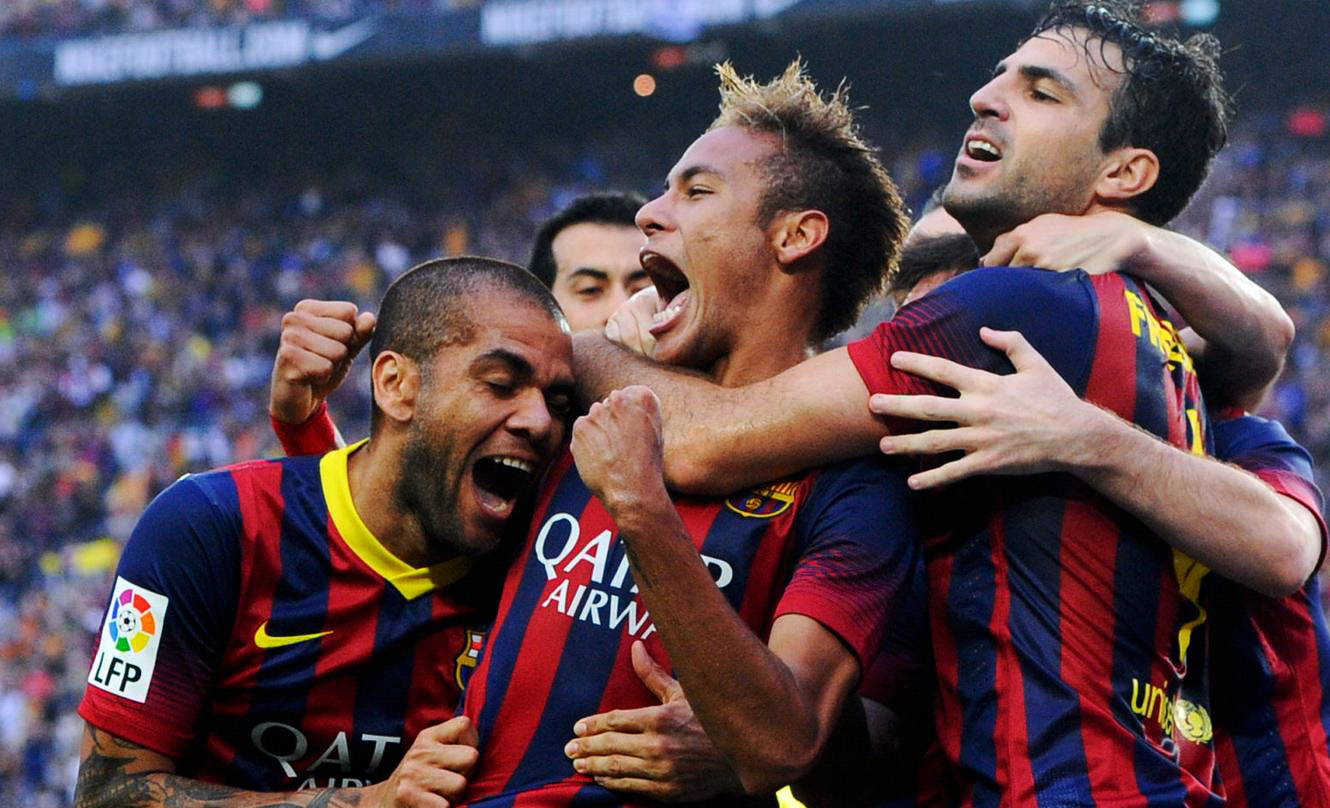 Neymar and Barcelona players delighted in Barcelona 2-1 Real Madrid, for La Liga 2013-2014