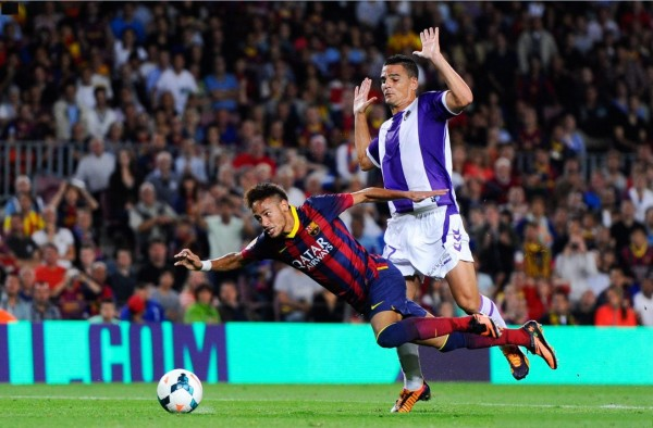 Neymar diving in a game for Barcelona, in 2013-2014