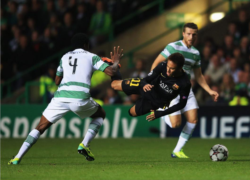 Neymar flying after being hit, in Celtic vs Barça