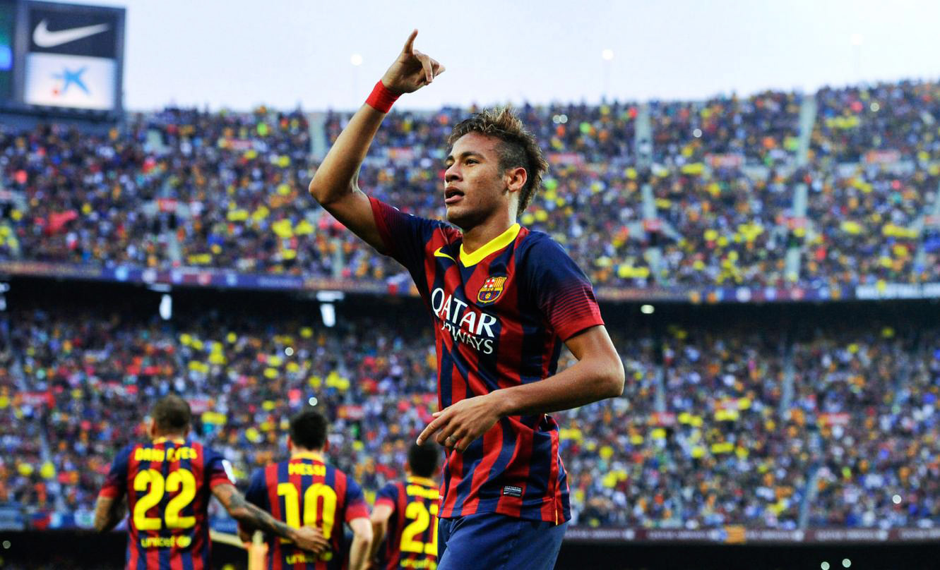 Neymar hang loose gesture, during goal celebrations in Barcelona vs Real Madrid