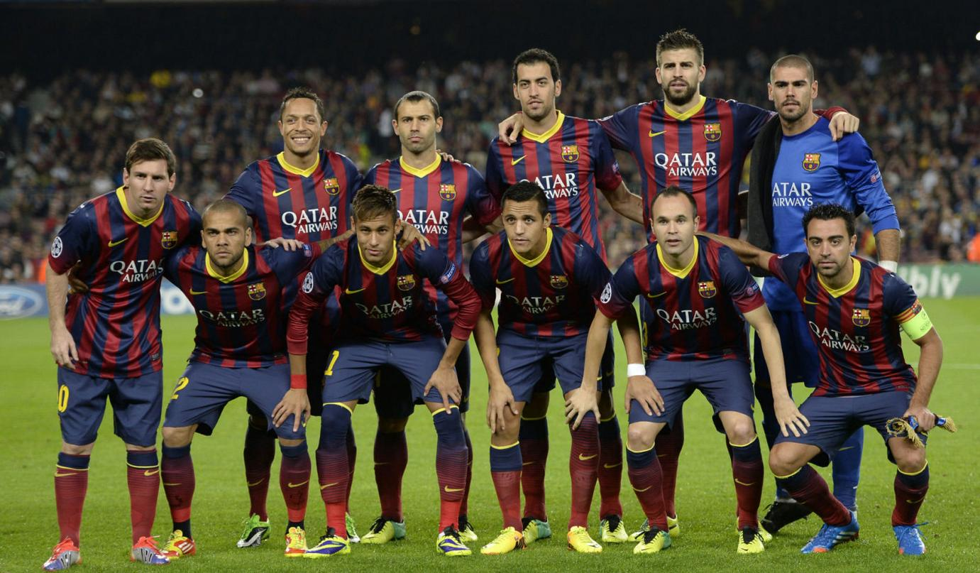 Barcelona 3-1 Milan, home side line-up