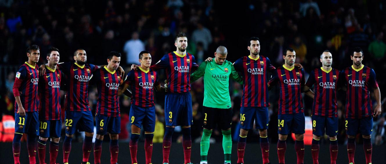 Barcelona team players respecting 1 minute of silence