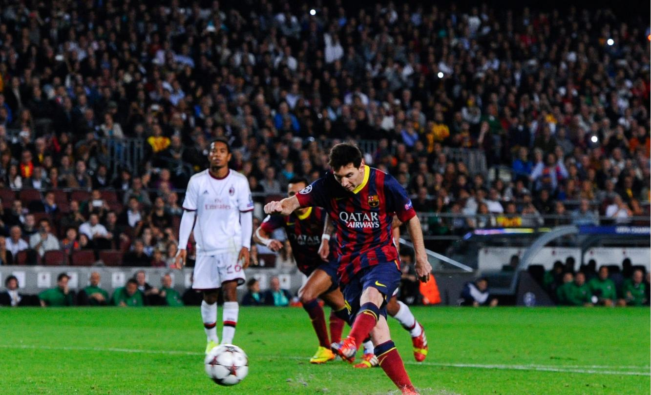 Lionel Messi converting a penalty-kick, in Barcelona 3-1 Milan
