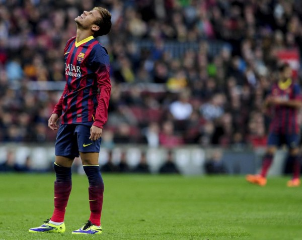 Neymar crying in a Barcelona game