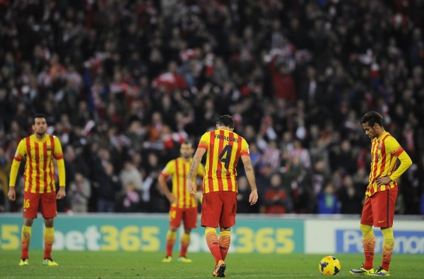 Barcelona players disappointment, after losing against Athletic Bilbao