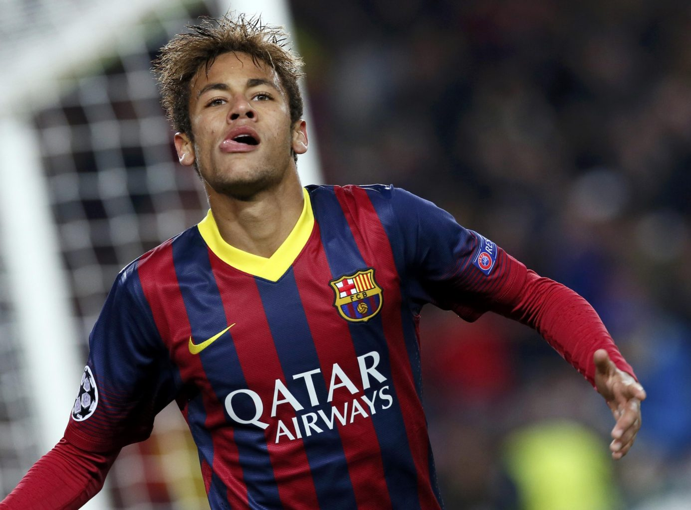Neymar biting his tongue, after scoring for Barcelona