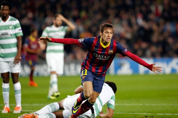 Neymar first Champions League goal for Barcelona, in 2013-2014