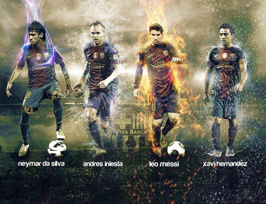 Neymar, Iniesta, Messi and Xavi wallpaper - FC Barcelona fantastic four