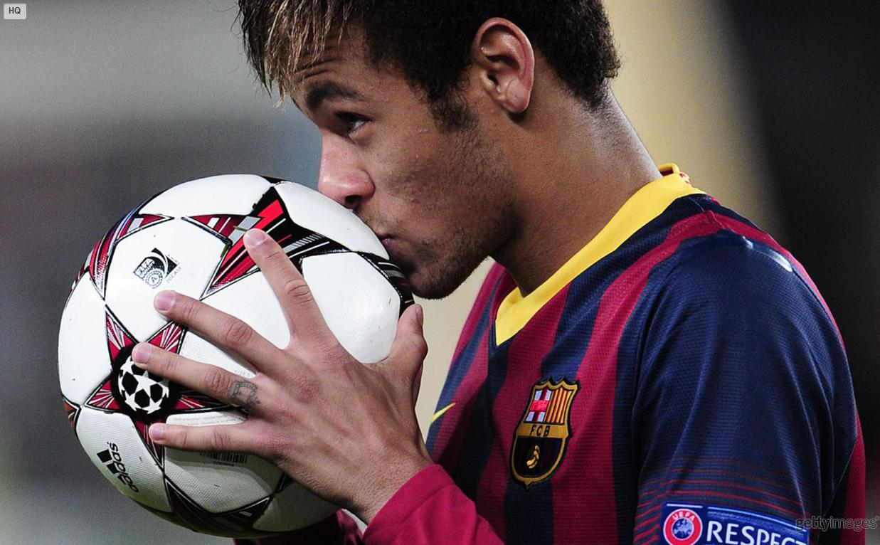Neymar keeping the Champions League ball to himself
