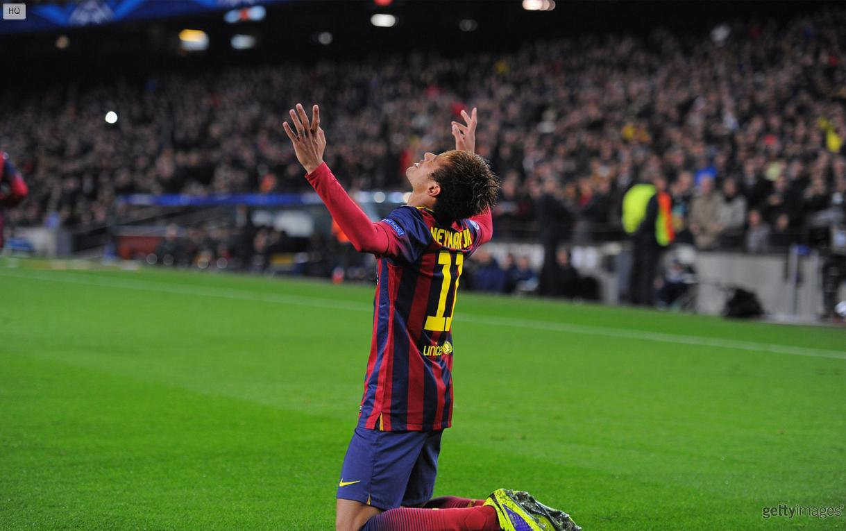 Neymar on his knees at Barcelona