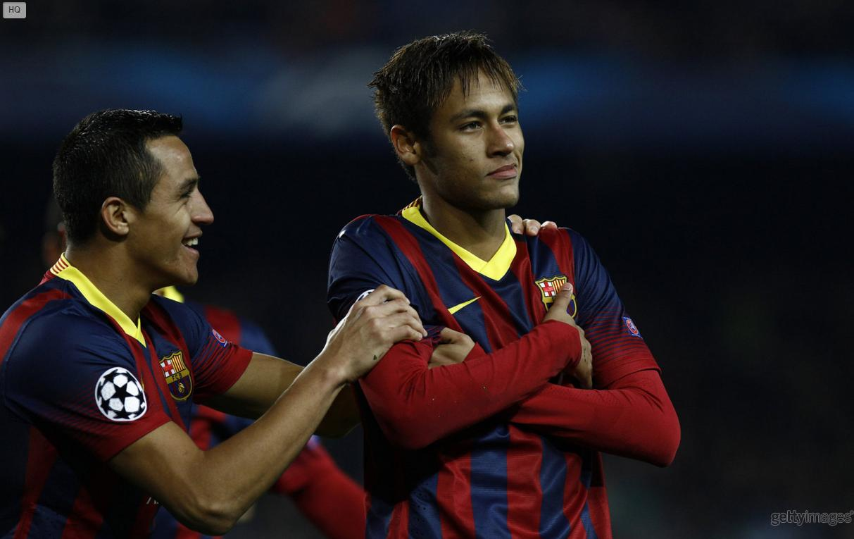 Neymar original arms crossed goal celebration, in Barça