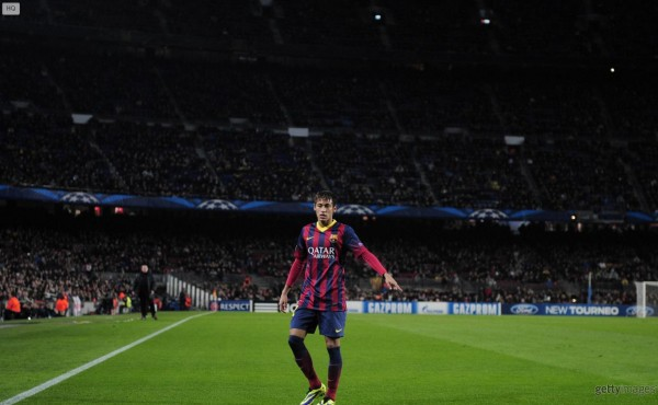 Neymar playing at a packed Camp Nou stadium