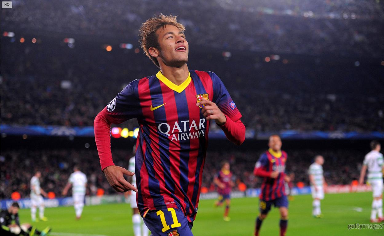 Neymar running free in Barcelona