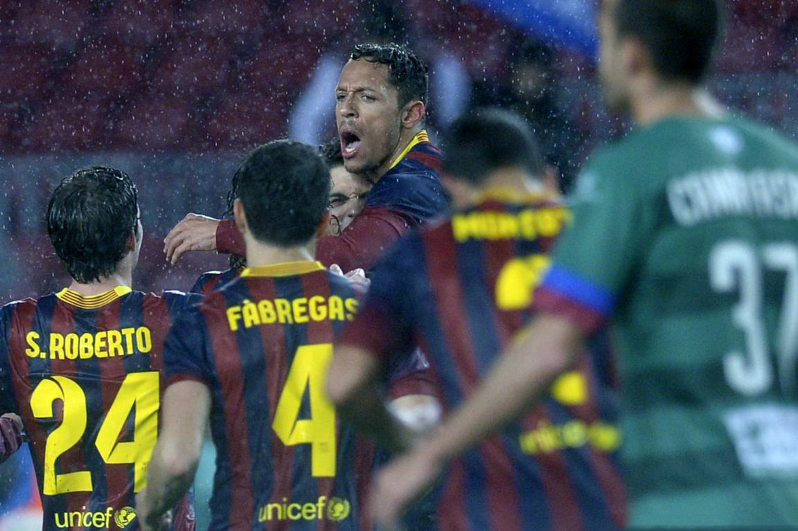 Adriano celebrating a Barcelona goal with his friends