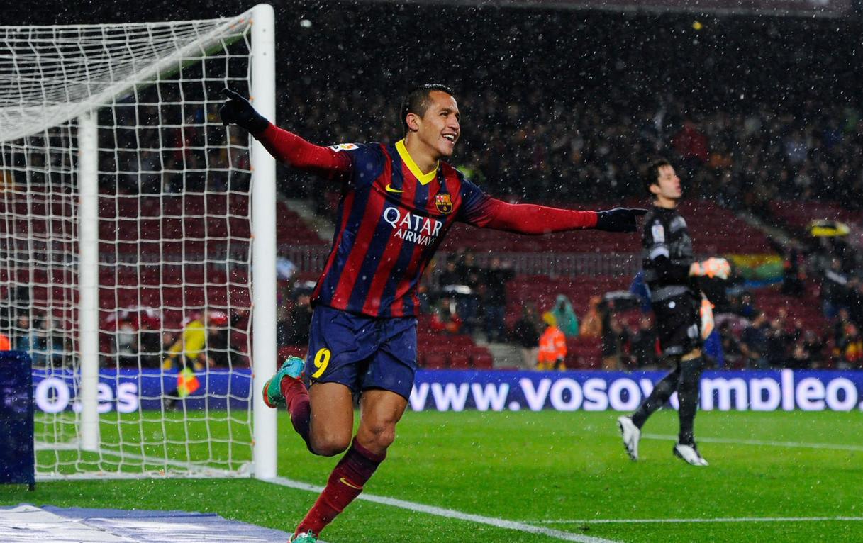 Alexis Sánchez goal celebration, in FC Barcelona 5-1 Levante