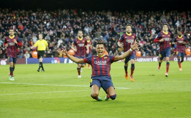 Alexis Sanchez joy for scoring a hat-trick for Barcelona