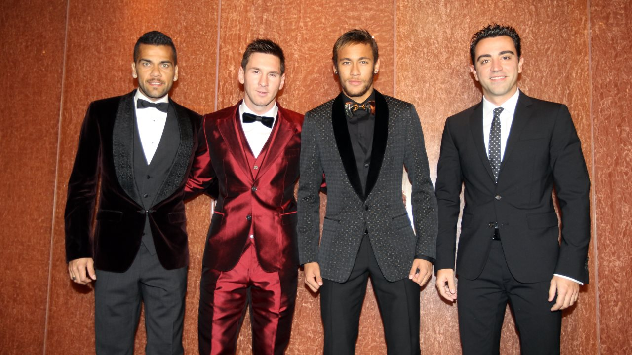 Daniel Alves, Lionel Messi, Neymar and Xavi, at the FIFA Ballon d'Or 2013