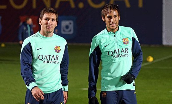 Lionel Messi and Neymar in Barcelona first training session of 2014