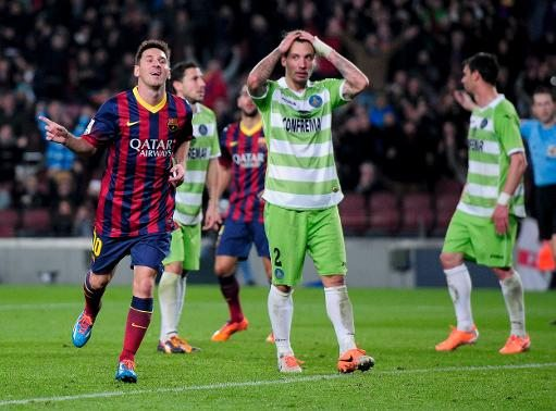 Lionel Messi goal celebration, after scoring in Barcelona vs Getafe