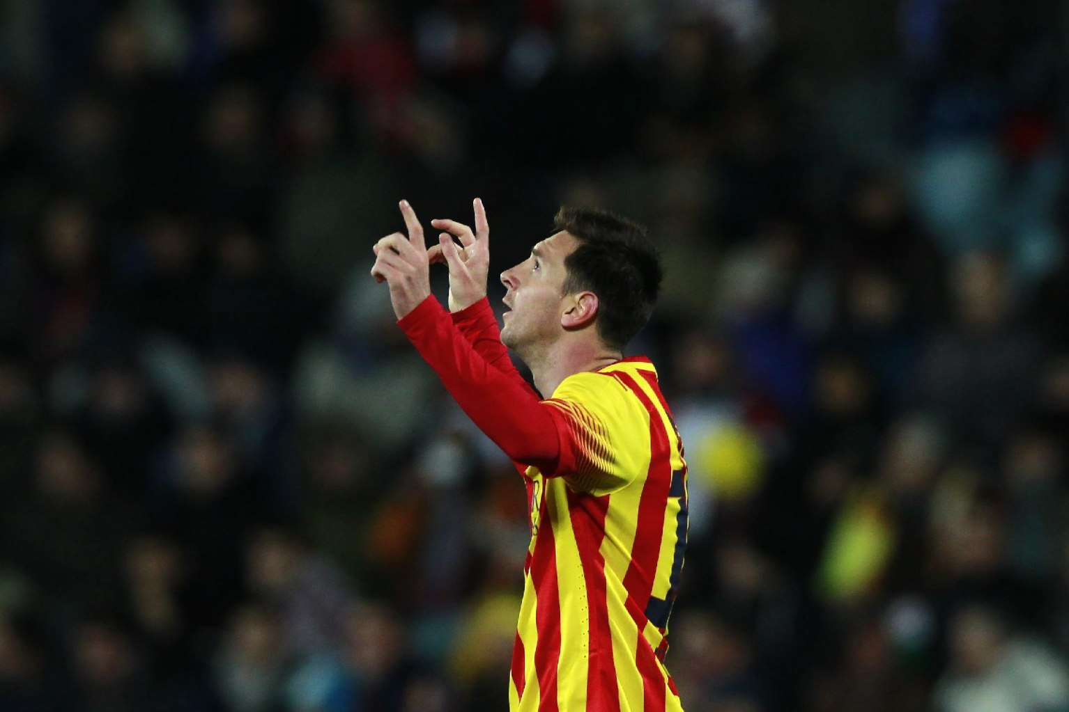 Messi celebrating his masterpiece goal against Getafe