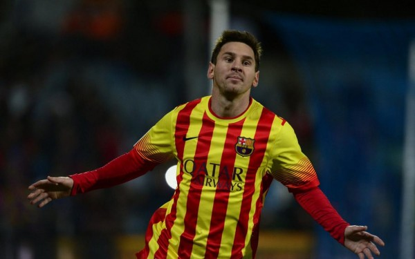 Messi in Barcelona 2014 away jersey