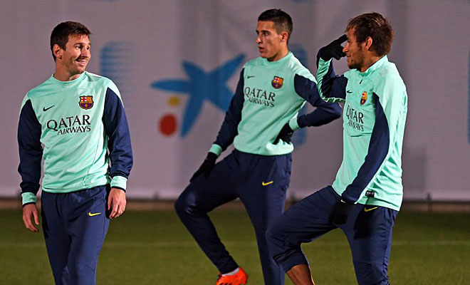 Neymar and Messi training together