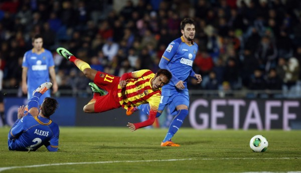 Neymar flying after a tackle and getting injured