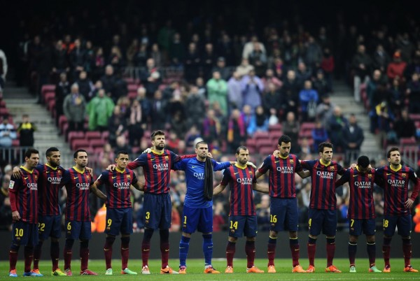 Barcelona starting eleven lined up, in 2014