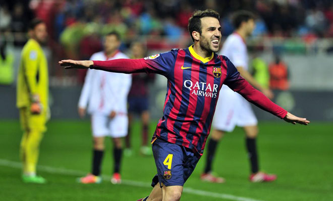 Cesc Fabregas scoring for Barcelona
