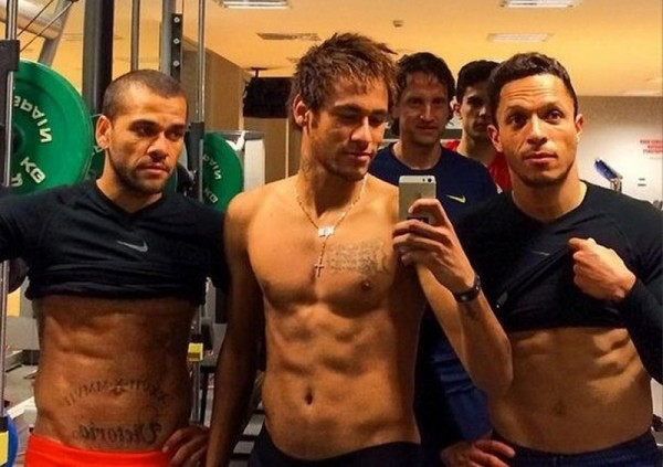 Daniel Alves, Neymar and Adriano abs muscles