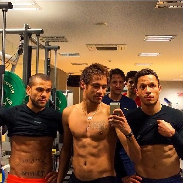 FC Barcelona player Neymar shirtless and showing his abs