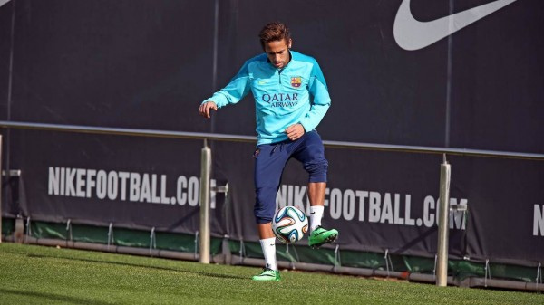 Neymar during a Barcelona training session, in February 2014