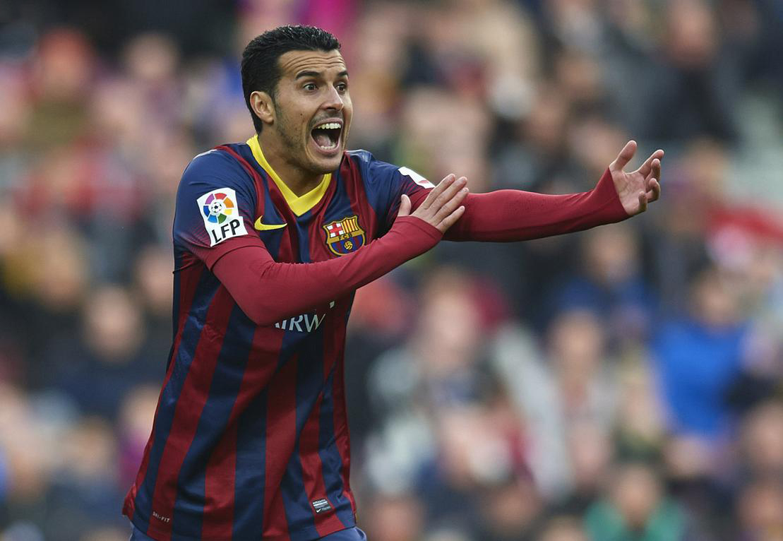 Pedro waving and contesting a referee's decision