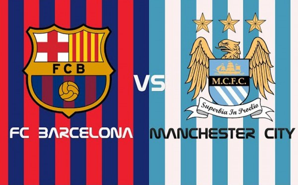 Barcelona vs Manchester City game poster